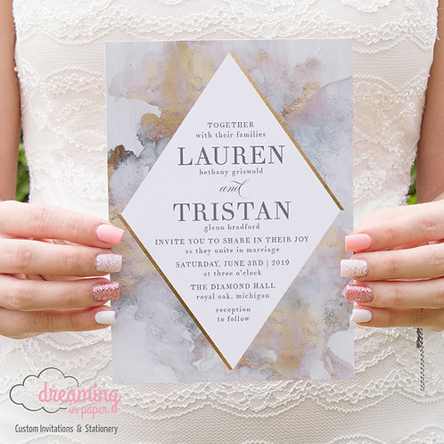 Artistic Painterly Diamond Wedding Invitations 219