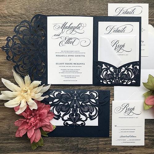 Glittering Navy Blue Laser Cut Pocket Wedding Invitations