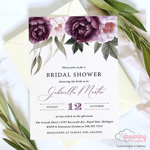 Purple Plum Floral Deep Velvet Bridal Shower Invitation