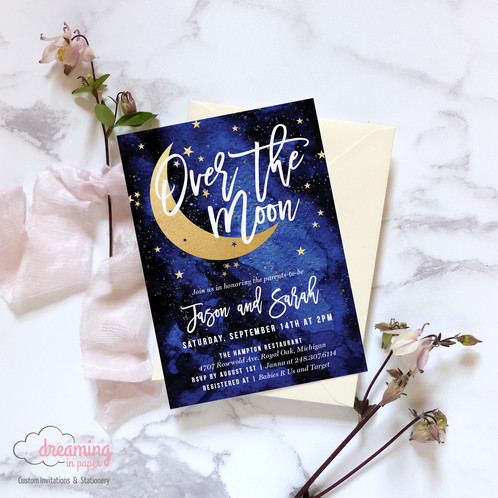 Over the moon galaxy stars baby shower invitation baby shower invitation moon stars boy navy blue gold filmwisefo