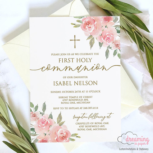 Blush Pink and Greenery with Gold Baptism Invitation