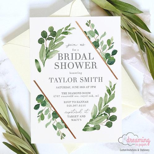 Wild Diamond Boho Greenery Bridal Shower Invitation