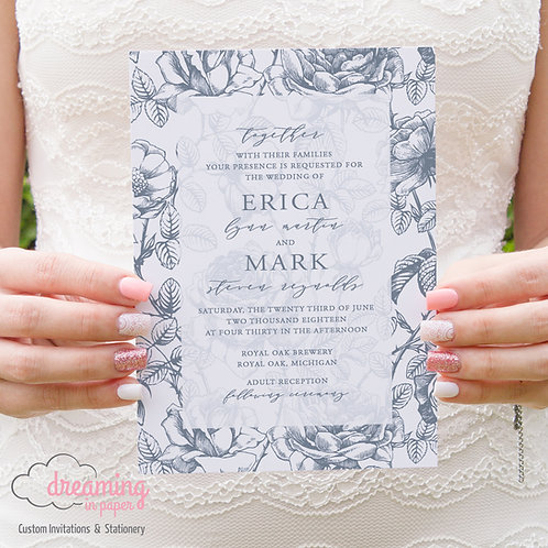 Antique Floral Wedding Invitations 03