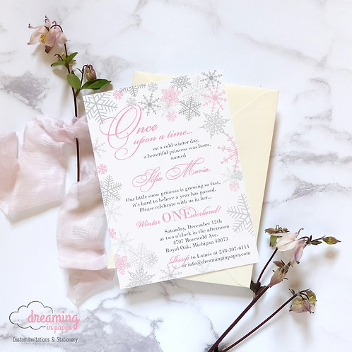 Snow Princess Fairytale Onederland Birthday Invitation
