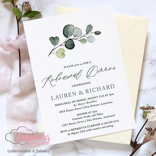 Rehearsal Dinner Invites, Eucalyptus Invites, Greenery Invite, Rehearsal Dinner Invitation, Modern Invitation