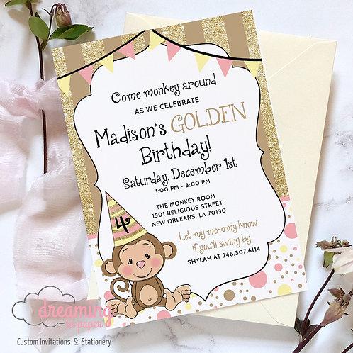 Golden Birthday Golden Monkey Invitation