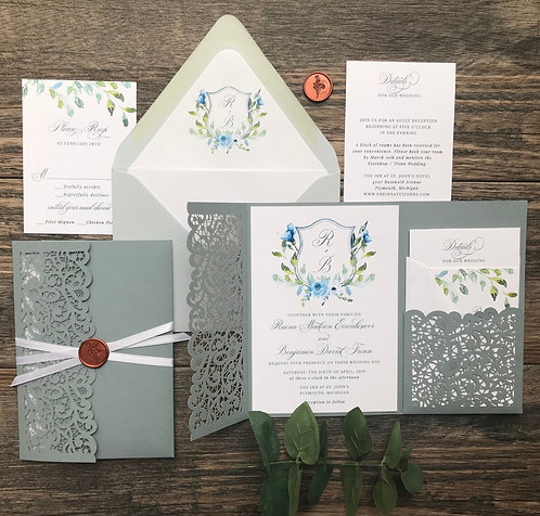 Dusty Blue Floral Laser Cut Pocket Wedding Invitations