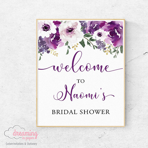 Purple Garden Bridal Shower Welcome Sign