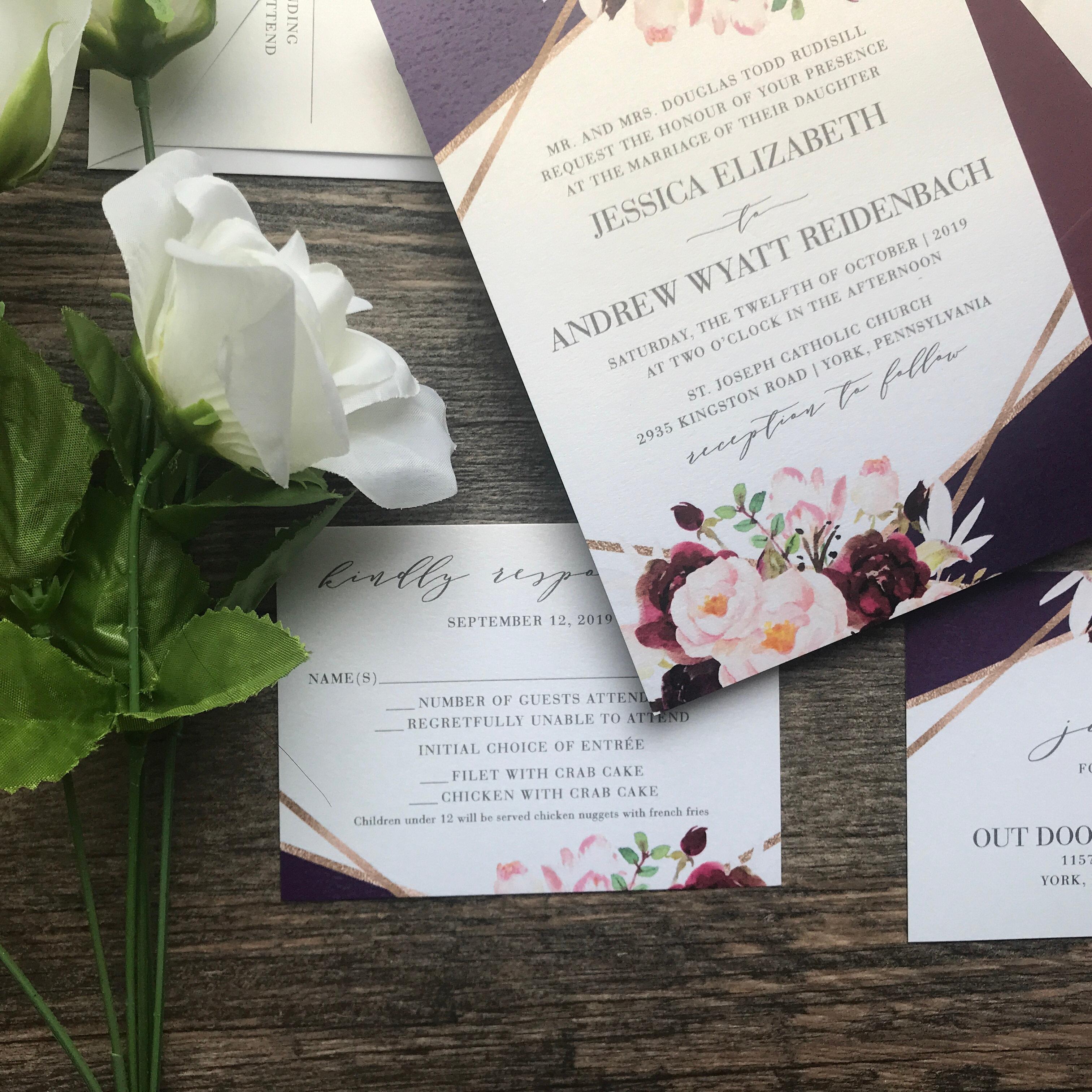 Geometric Copper And Plum Floral Wedding Invitation Set Dreaminginpaper
