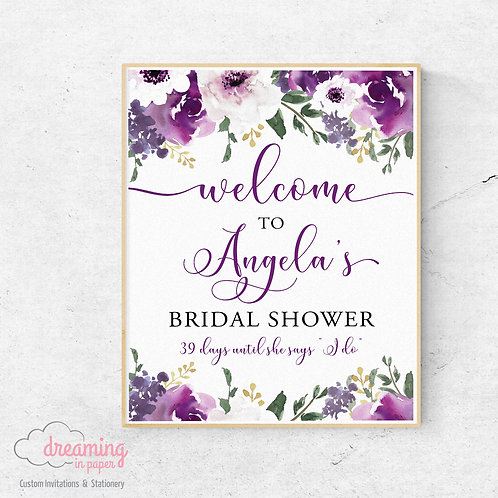 "Purple Garden Bridal Shower Welcome Sign with # of days to ""I do"""