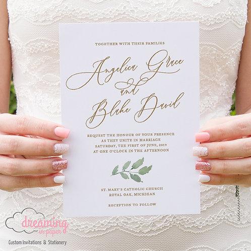 Greenery Gold Script Wedding Invitations 213