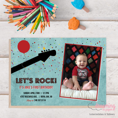 Birthday invites usa dreaming in paper lets rock with photo birthday invitation stopboris Gallery