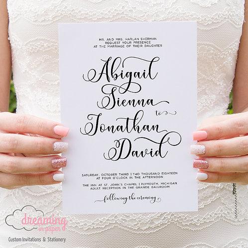 Modern Miracle Black and White Wedding Invitation