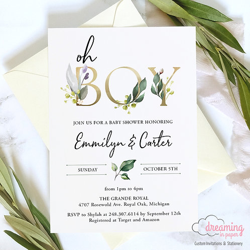 Oh BOY Greenery Baby Shower Invitations