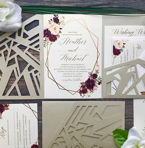 Geometric Laser Cut Pocket Wedding Invitations with Boho Marsala