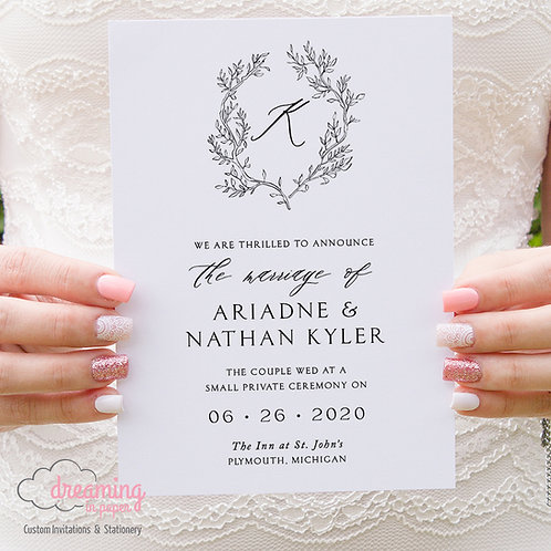 Fine Art Botanical Monogram Wedding Announcements 359