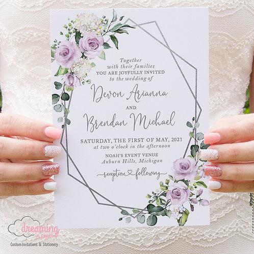Mauve Purple Roses Geometric Wedding Invitations 406