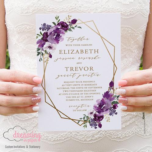Purple Plum Floral Geometric Wedding Invitations