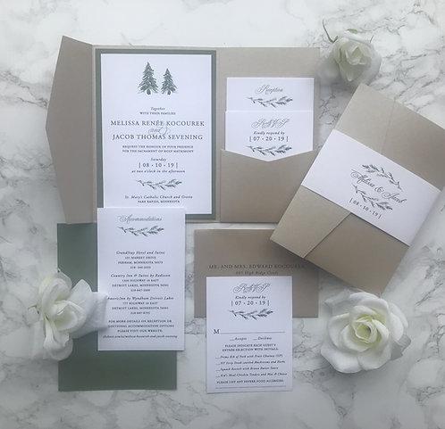 Rustic Elegant Pine Tree Pocket Wedding Invitations 180-P