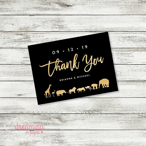 Zoo Faux Gold Thank You Card