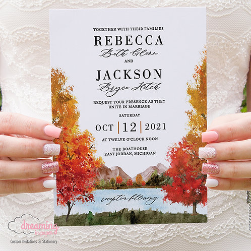 Mellow Rustic Autumn Mountain Lake Wedding Invitations 414