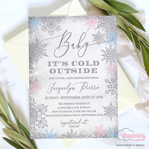 Baby It's Cold Winter Snowflakes Baby Shower Invitations Boy or Girl