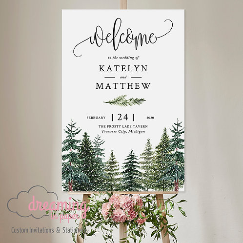 Rustic Winter Pine Tree Forest Trees Welcome Sign 306