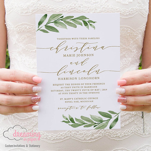 Greenery Leaf and Gold Wedding Invitation 210