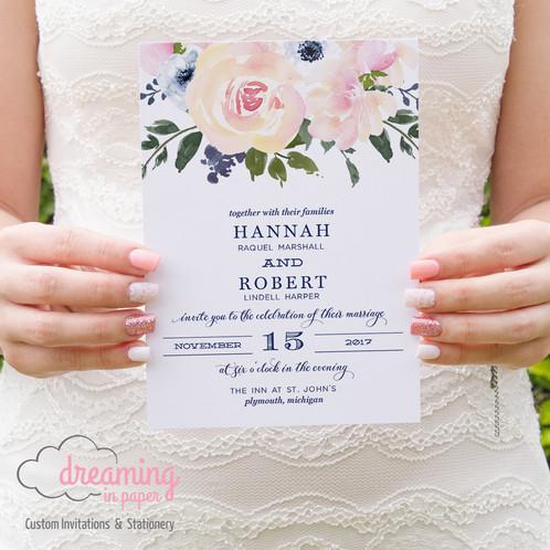 Blush and Navy Floral Vintage Wedding Invitation Set
