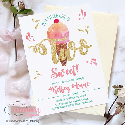 TWO Sweet Pink Gold Ice Cream Birthday Invitation