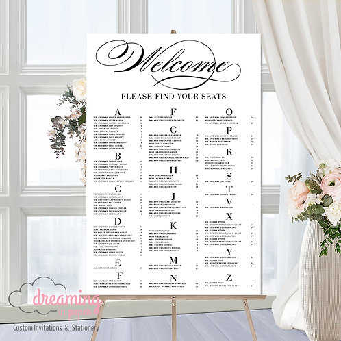 Welcome Scroll Seating Chart