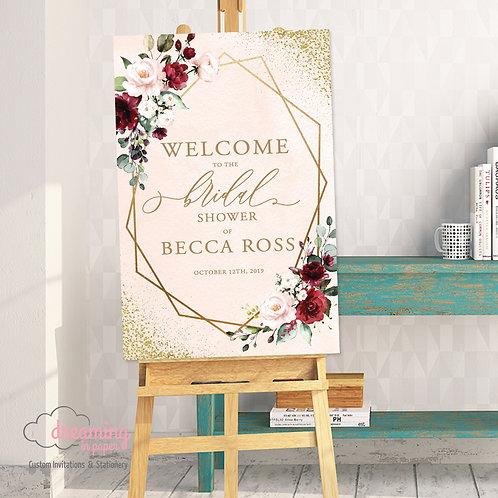Burgundy Floral Gold Lisima Wedding Welcome Sign 241 Blush