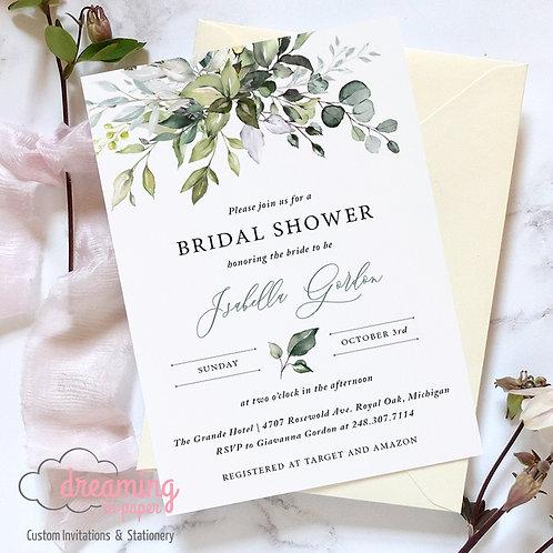 Botanical Green Greenery Bridal Shower | Wedding Shower Invitation