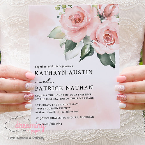 Blush Pink Watercolor and Floral Modern Wedding Invitations 302