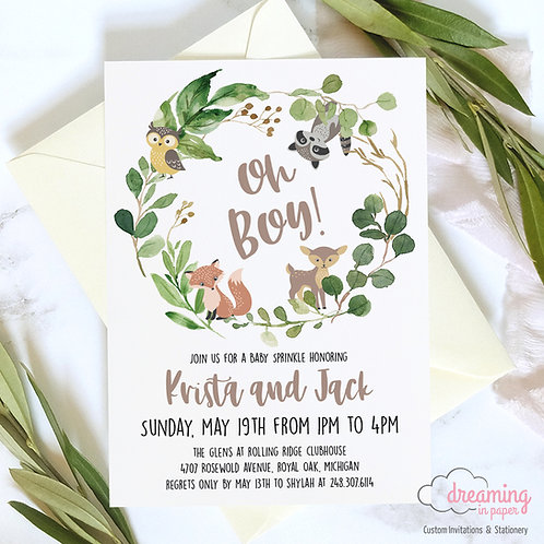 oh boy shower, baby shower, shower invites, baby shower invites, woodland animals, forest animals, forest baby shower, woods