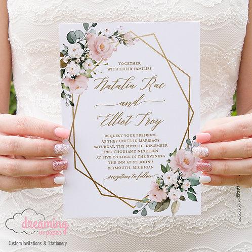 Geometric Mauve Floral Eucalyptus Wedding Invitations 255