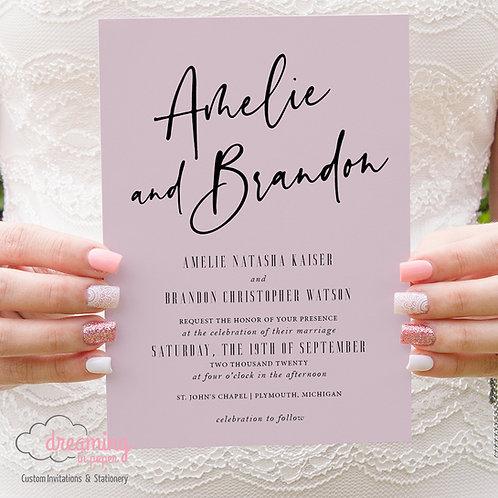 Pink Quartz Modern Script Wedding Invitations 351