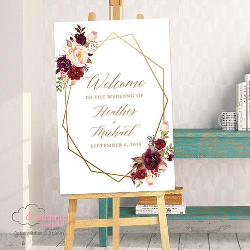 Boho Marsala Geometric Wedding Welcome Sign