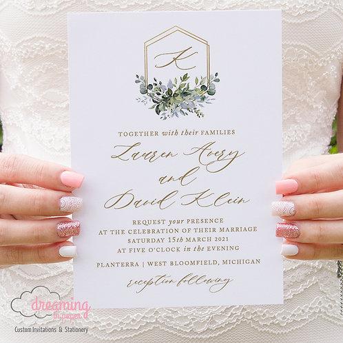 Overlapping Hexagon Wedding Crest Greenery Wedding Invitations 392