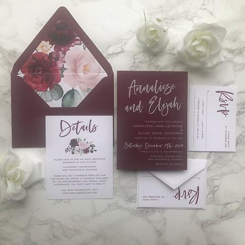 White Ink Opulent Burgundy Wedding Invitations WI 05
