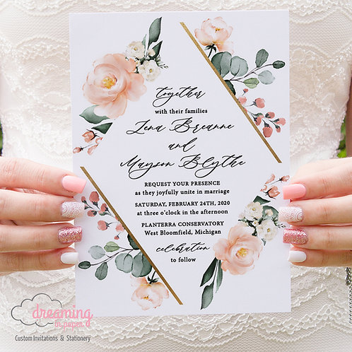 Coral and White Golden Diamond Wedding Invitations 395
