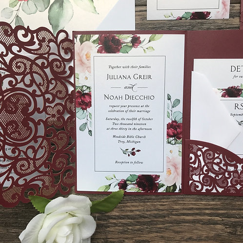 Shimmering Burgundy Floral Border Laser Cut Pocket Wedding Invitations 243