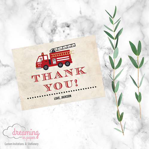 Fire Truck Birthday Thank You Card