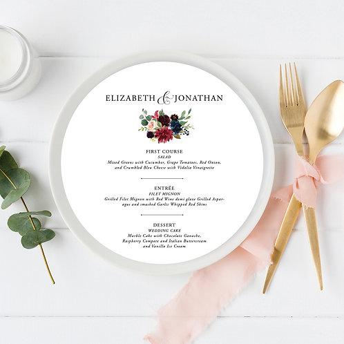 Navy Burgundy Blush Floral Circle Wedding Menu