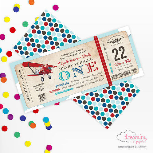 Vintage Airplane Boarding Pass Birthday Invitation