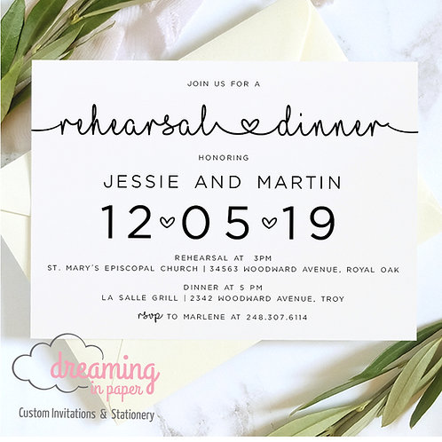 Connecting Hearts Rehearsal Dinner Invitation