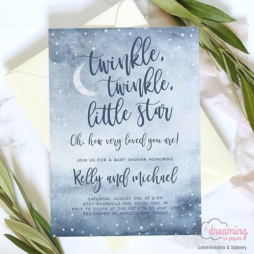 Twinkle Twinkle Little Star Dusty Blue Baby Shower Invitations