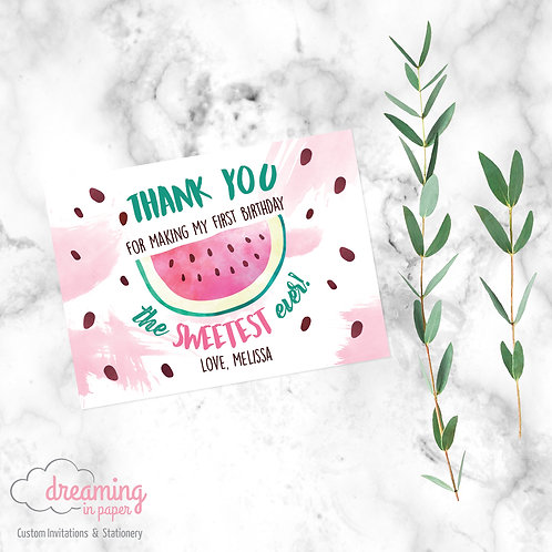 One in a Melon Watermelon Thank You Card