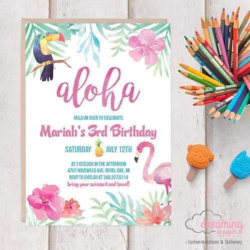 Aloha Tropical Luau Birthday Invitations with Flamingos