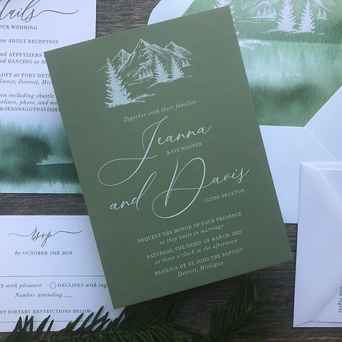 Mountain Forest White Ink Wedding Invitations WI06